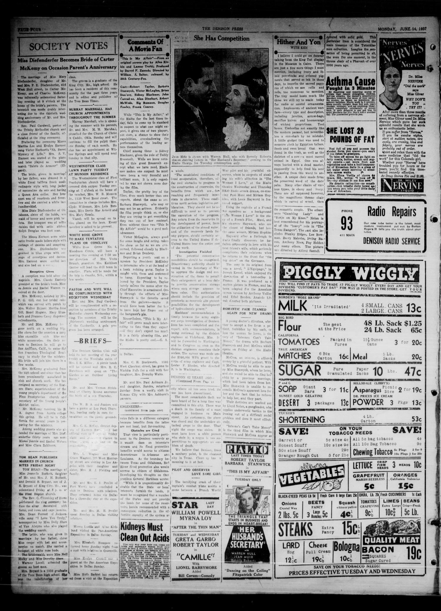 The Denison Press (Denison, Tex.), Vol. 3, No. 298, Ed. 1 Monday, June 14, 1937                                                                                                      [Sequence #]: 4 of 4