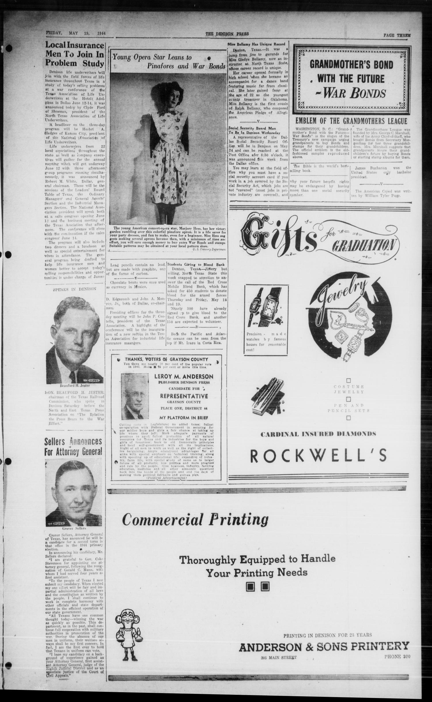 The Denison Press (Denison, Tex.), Vol. 15, No. 48, Ed. 1 Friday, May 19, 1944                                                                                                      [Sequence #]: 3 of 7