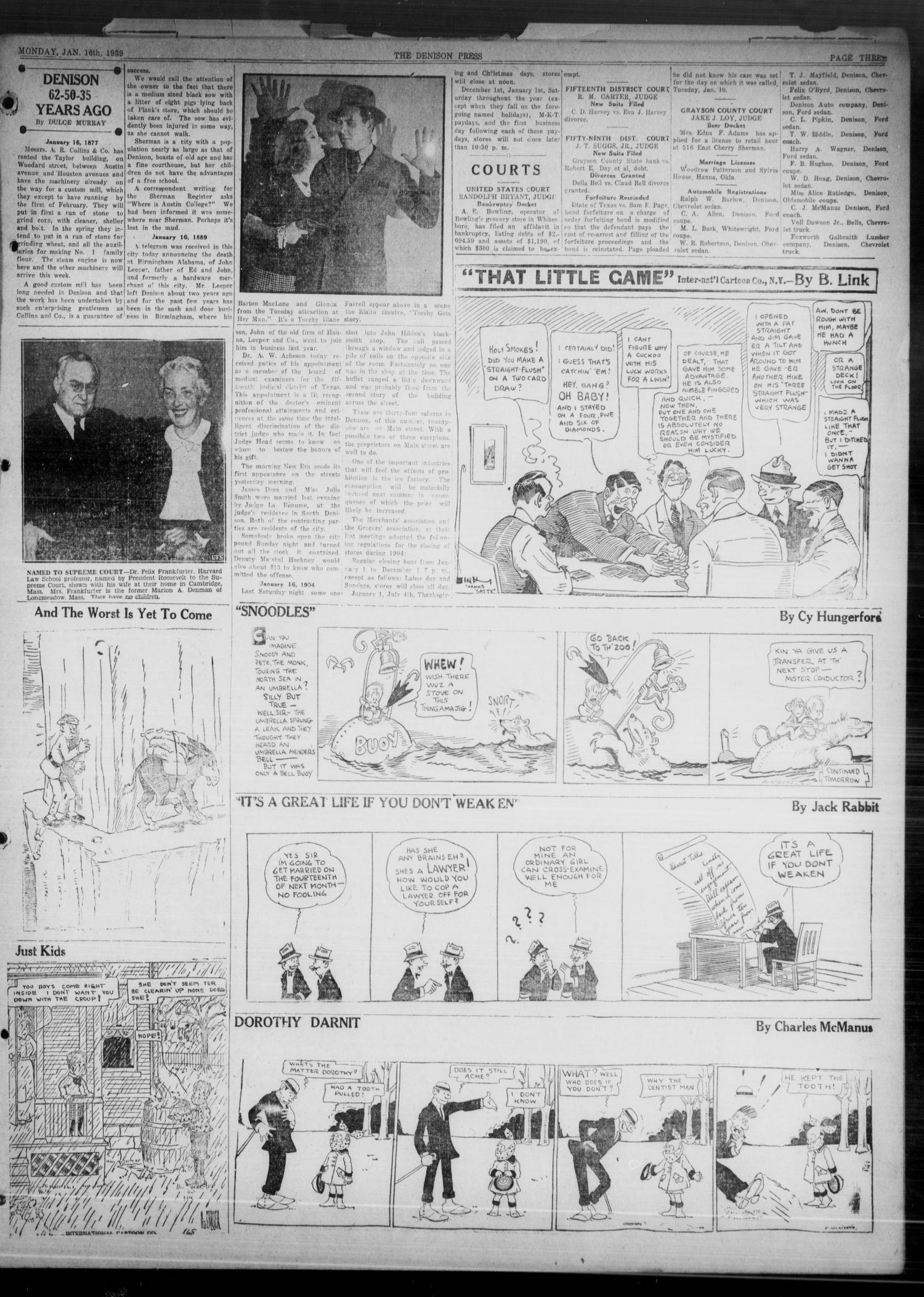 The Denison Press (Denison, Tex.), Vol. 5, No. 165, Ed. 1 Monday, January 16, 1939                                                                                                      [Sequence #]: 3 of 4