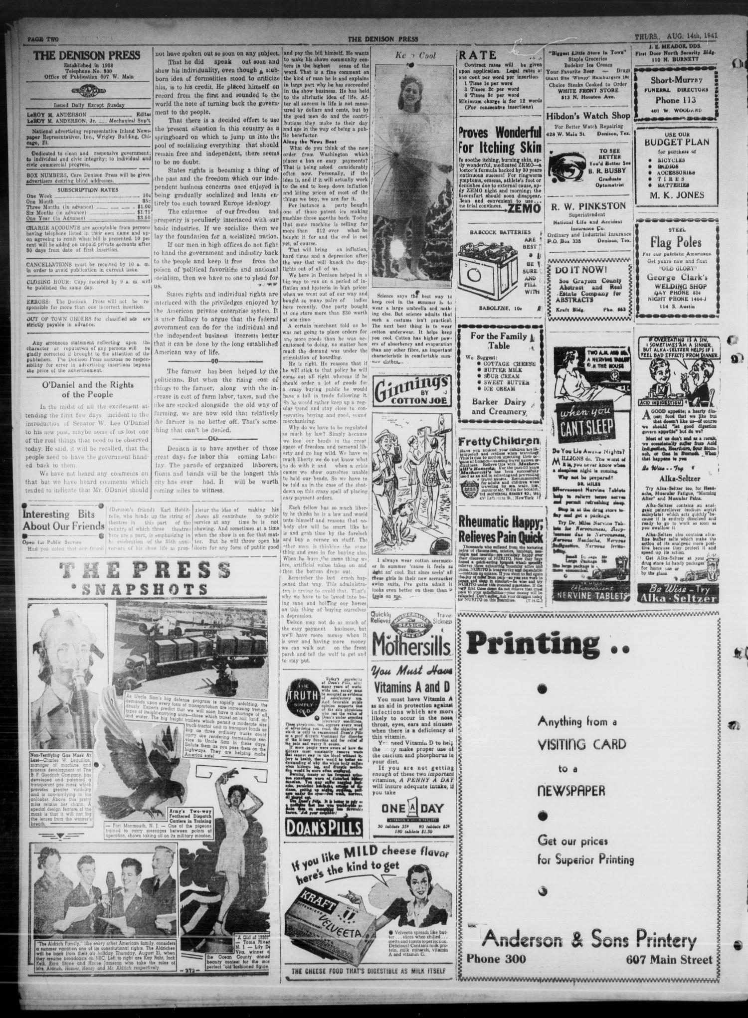 The Denison Press (Denison, Tex.), Vol. 8, No. 43, Ed. 1 Thursday, August 14, 1941                                                                                                      [Sequence #]: 2 of 4