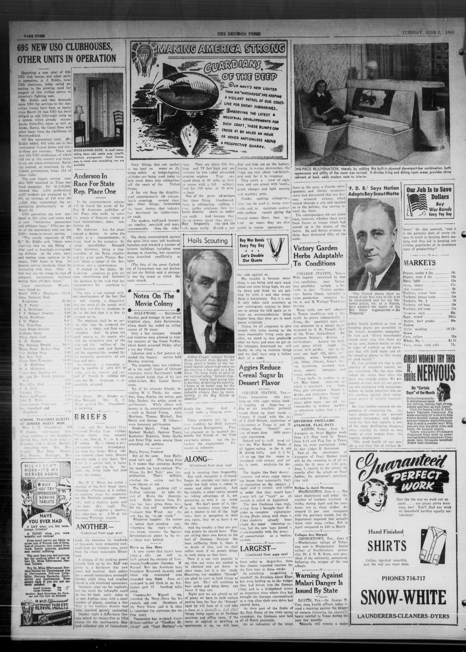 The Denison Press (Denison, Tex.), Vol. 8, No. 274, Ed. 1 Tuesday, June 2, 1942                                                                                                      [Sequence #]: 4 of 4