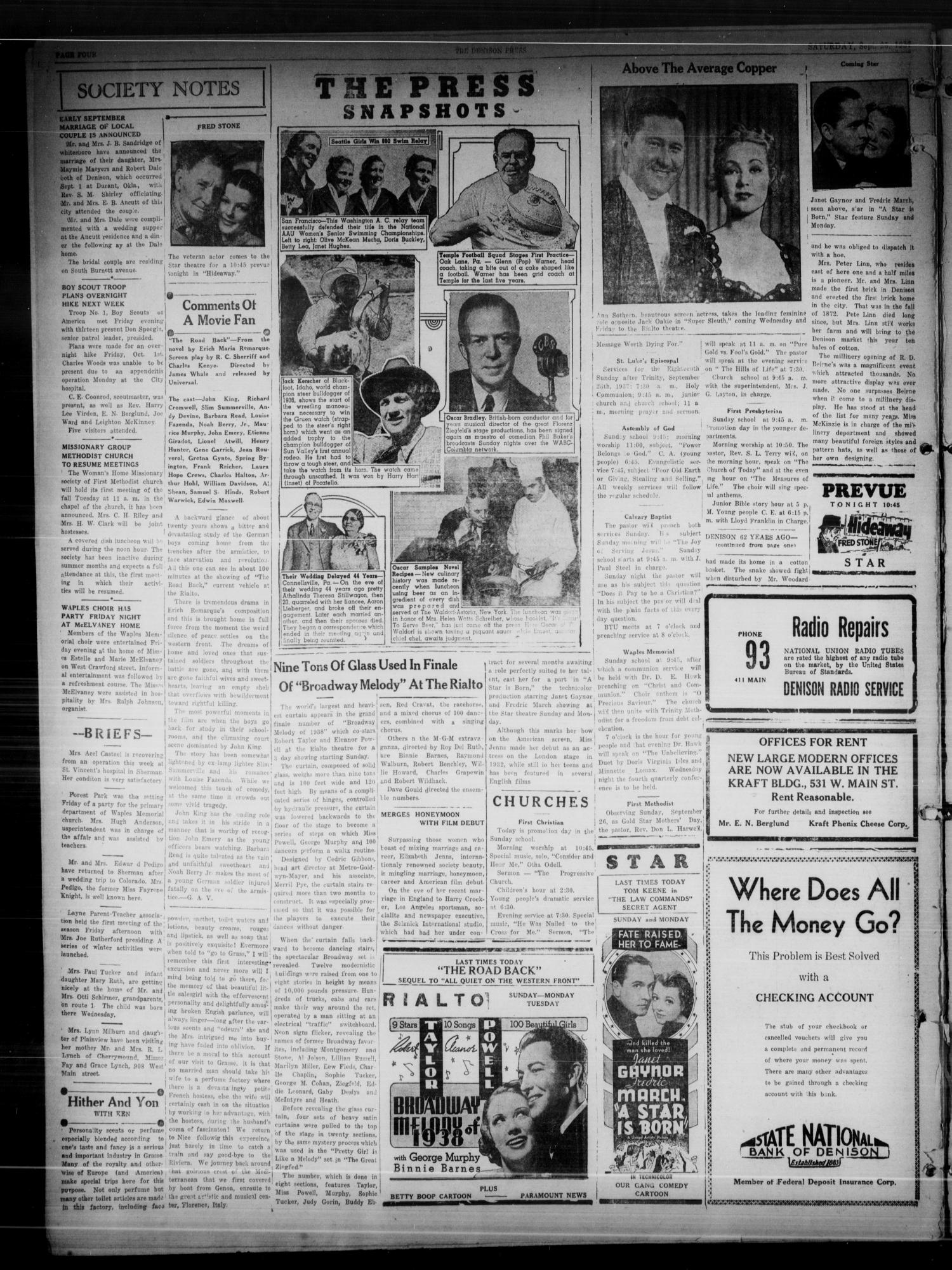 The Denison Press (Denison, Tex.), Vol. 4, No. 82, Ed. 1 Saturday, September 25, 1937                                                                                                      [Sequence #]: 4 of 4