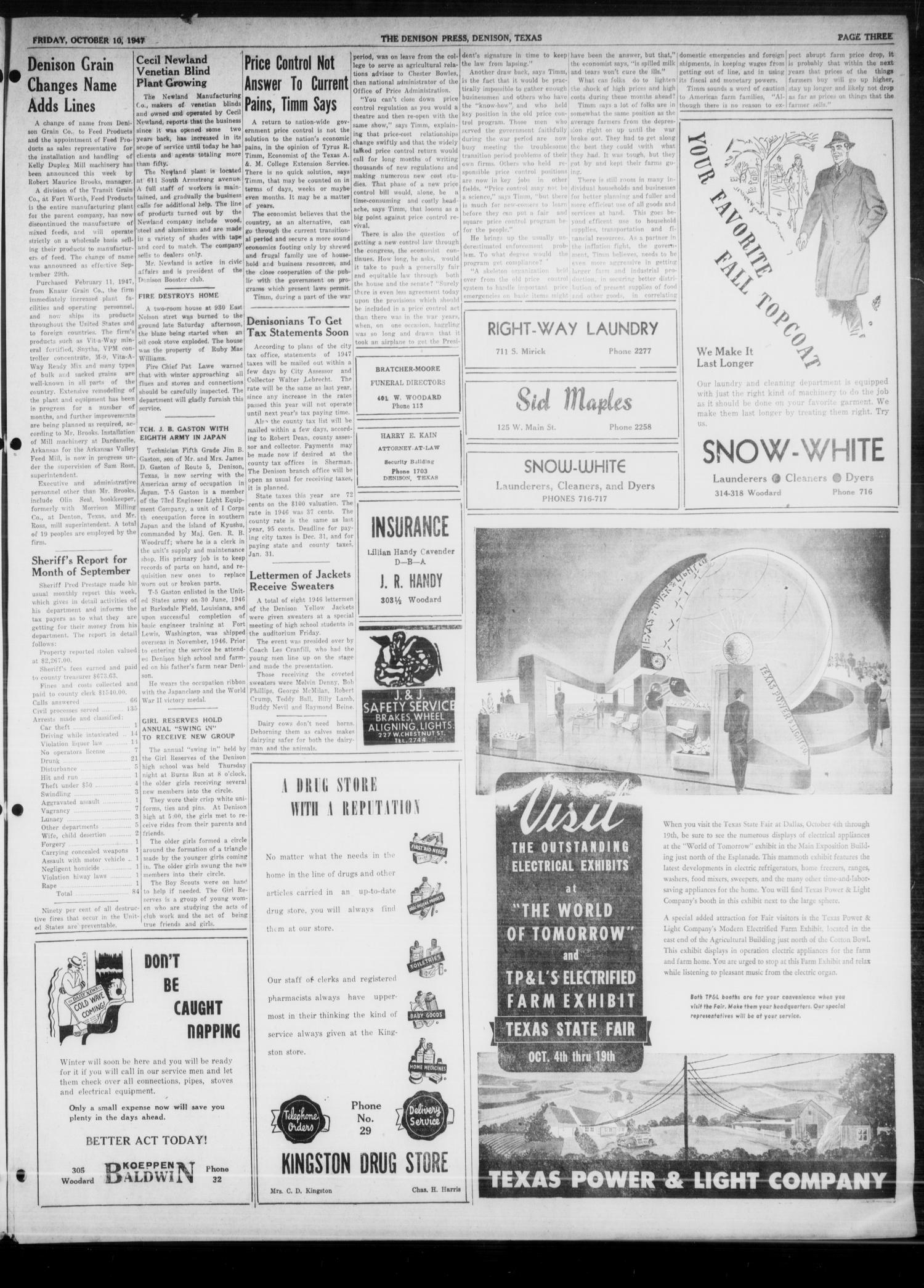 The Denison Press (Denison, Tex.), Vol. 19, No. 16, Ed. 1 Friday, October 10, 1947                                                                                                      [Sequence #]: 3 of 6