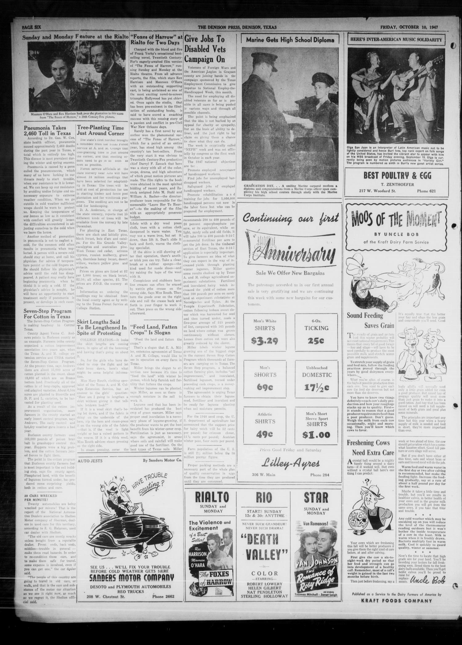 The Denison Press (Denison, Tex.), Vol. 19, No. 16, Ed. 1 Friday, October 10, 1947                                                                                                      [Sequence #]: 6 of 6