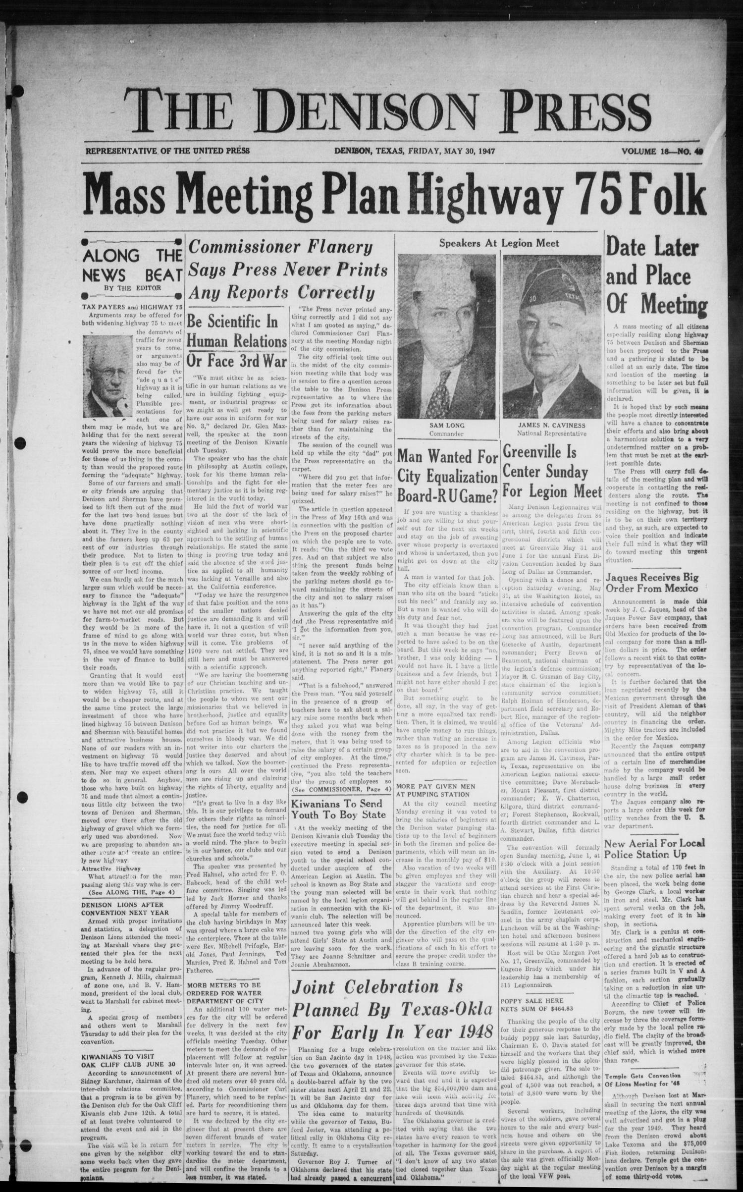 The Denison Press (Denison, Tex.), Vol. 18, No. 49, Ed. 1 Friday, May 30, 1947                                                                                                      [Sequence #]: 1 of 4