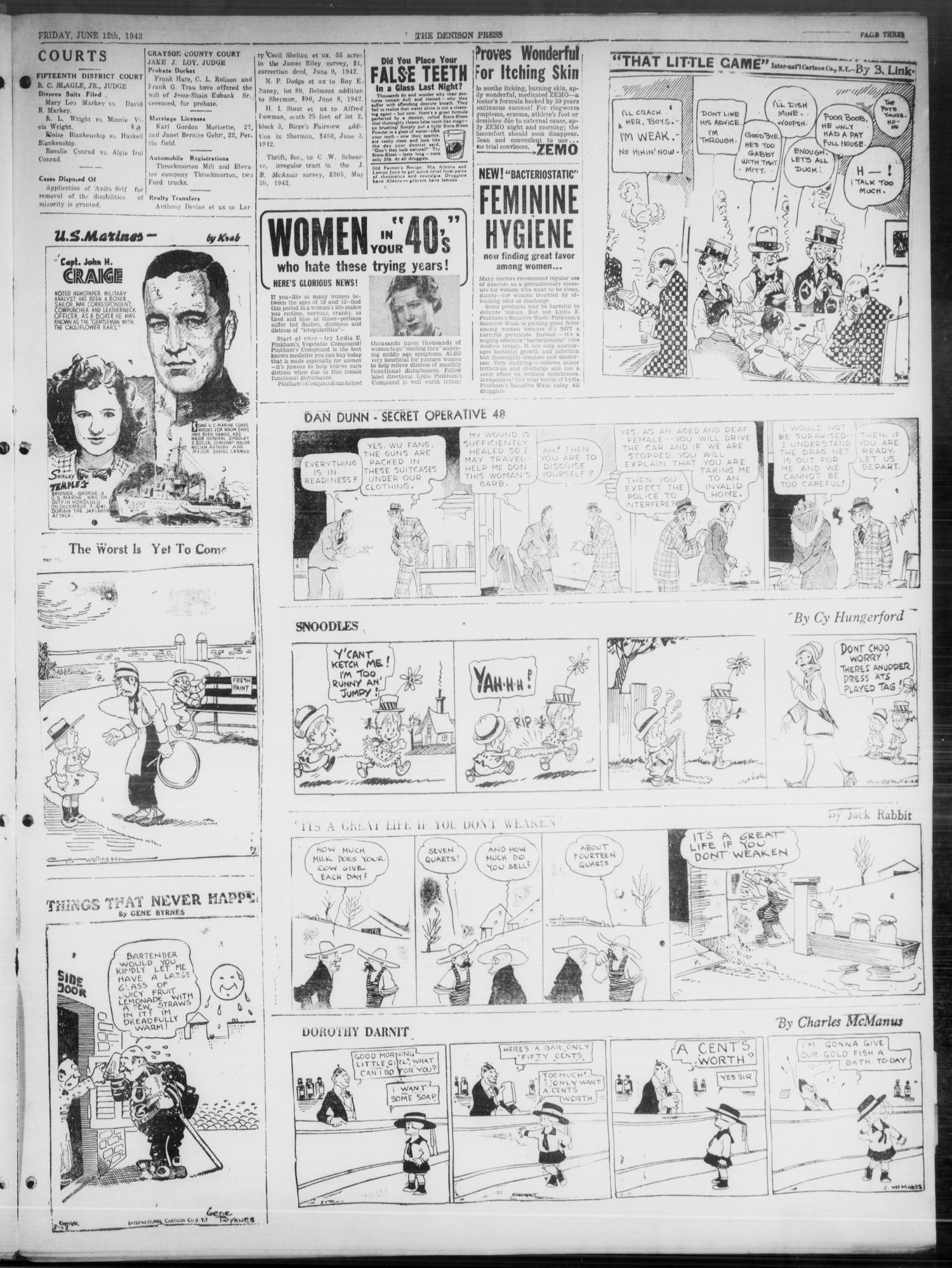The Denison Press (Denison, Tex.), Vol. 8, No. 283, Ed. 1 Friday, June 12, 1942                                                                                                      [Sequence #]: 3 of 4
