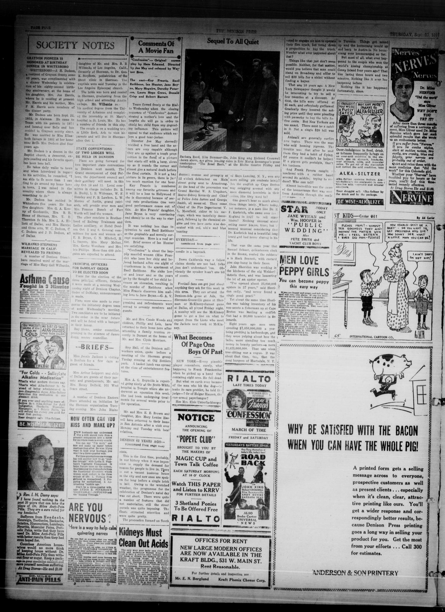 The Denison Press (Denison, Tex.), Vol. 4, No. 80, Ed. 1 Thursday, September 23, 1937                                                                                                      [Sequence #]: 4 of 4