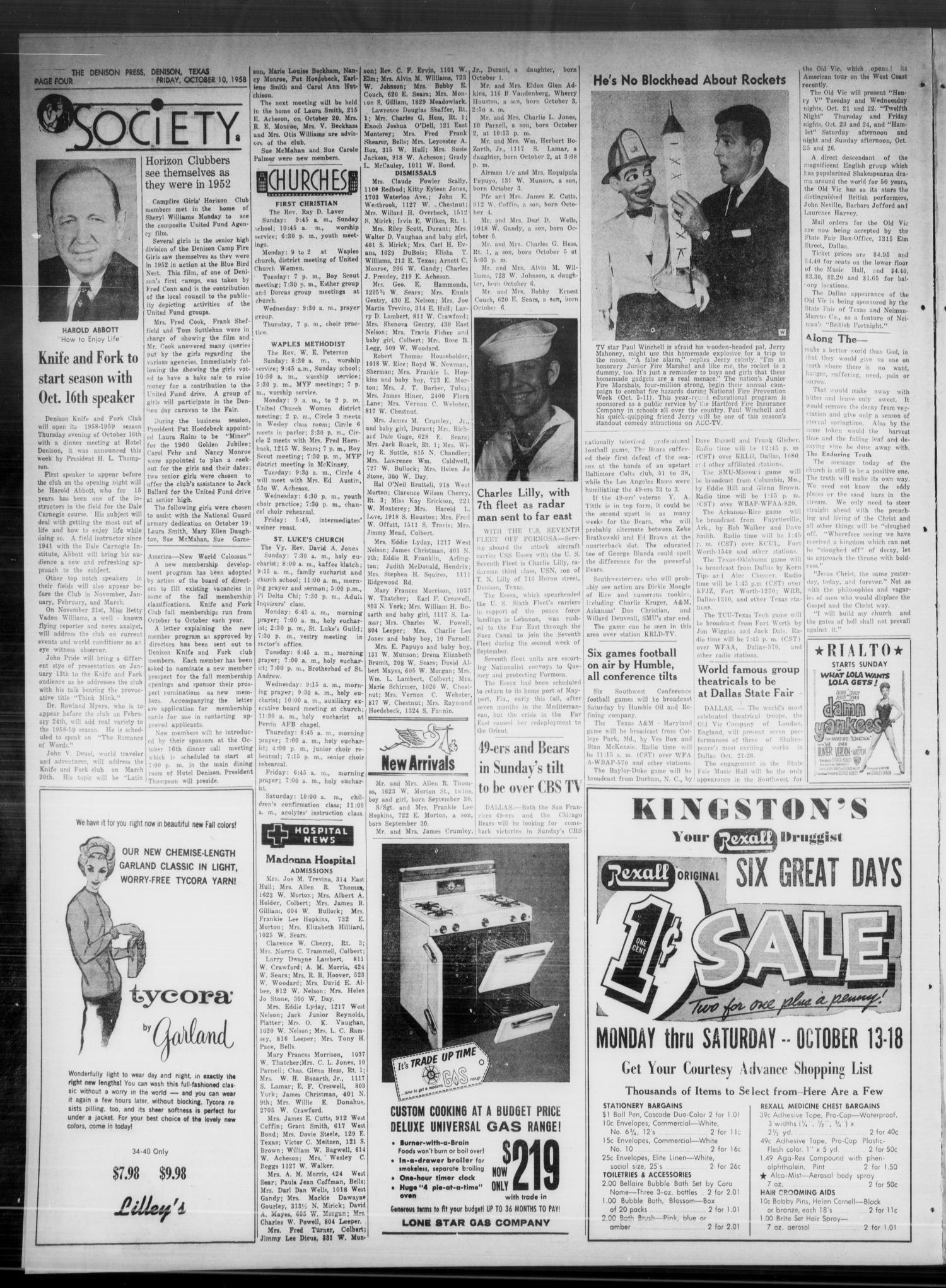 The Denison Press (Denison, Tex.), Vol. 31, No. 15, Ed. 1 Friday, October 10, 1958                                                                                                      [Sequence #]: 4 of 4