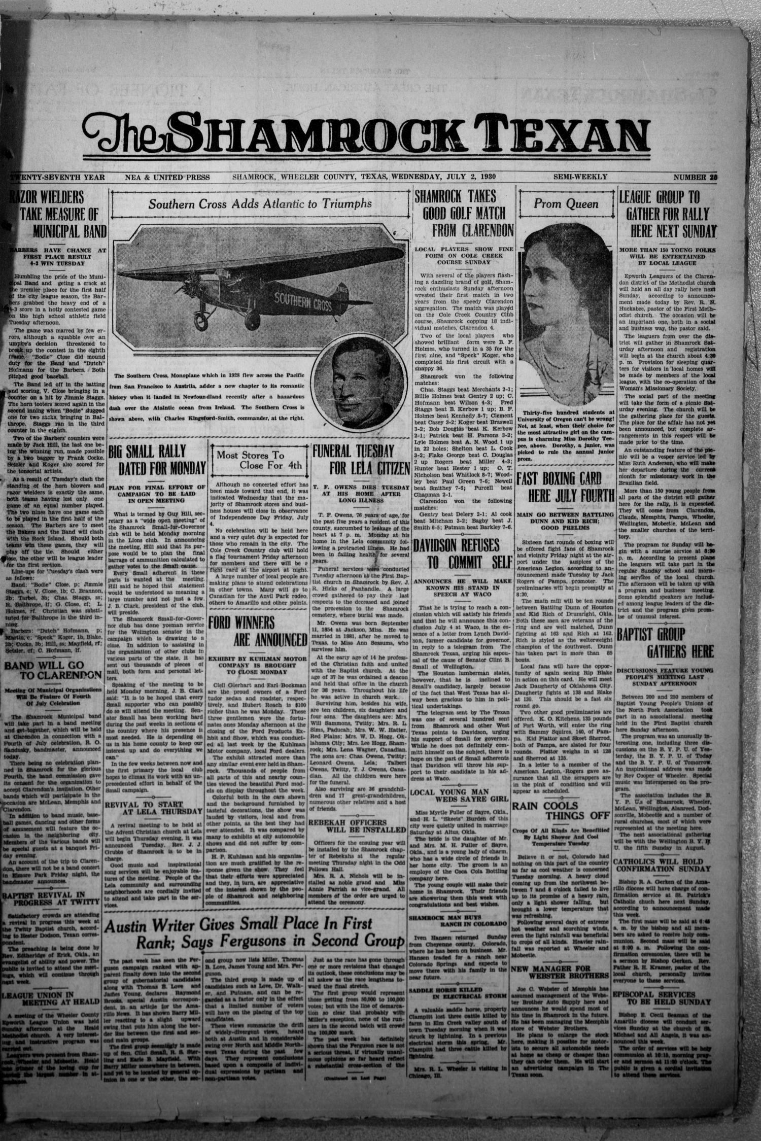 The Shamrock Texan (Shamrock, Tex.), Vol. 27, No. 20, Ed. 1 Wednesday, July 2, 1930                                                                                                      [Sequence #]: 1 of 8