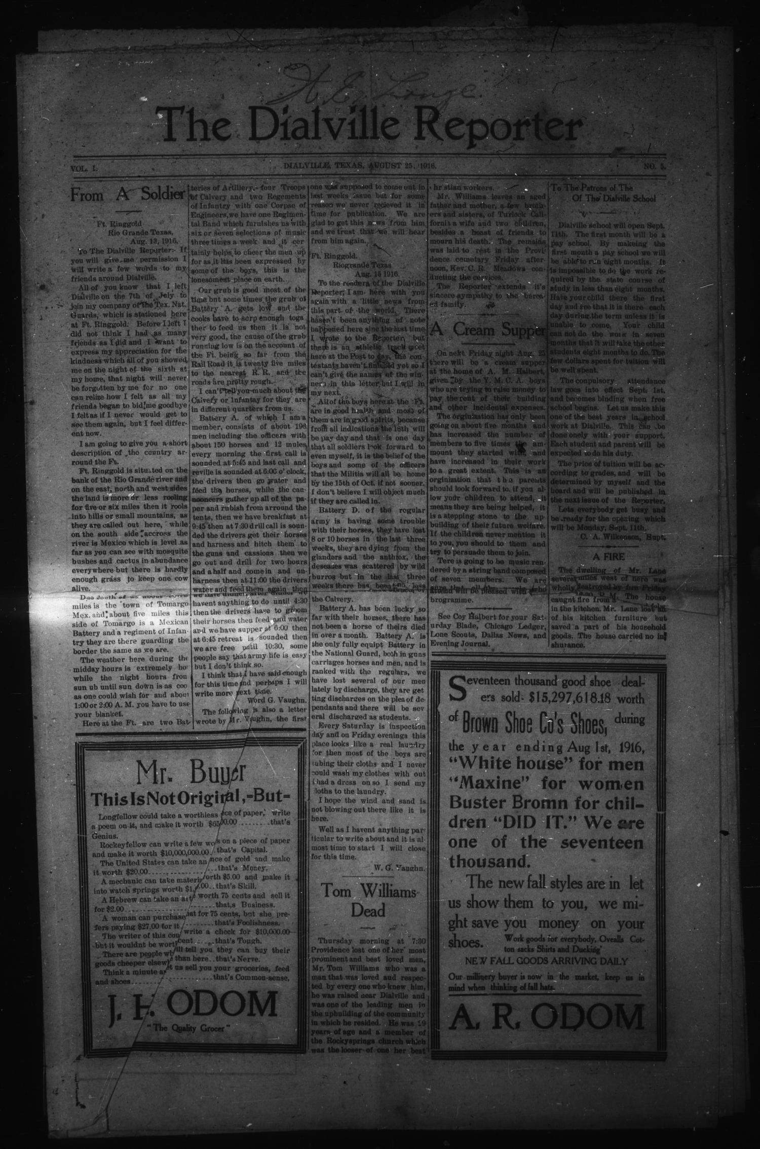 The Dialville Reporter (Dialville, Tex.), Vol. 1, No. 5, Ed. 1 Friday, August 25, 1916                                                                                                      [Sequence #]: 1 of 8