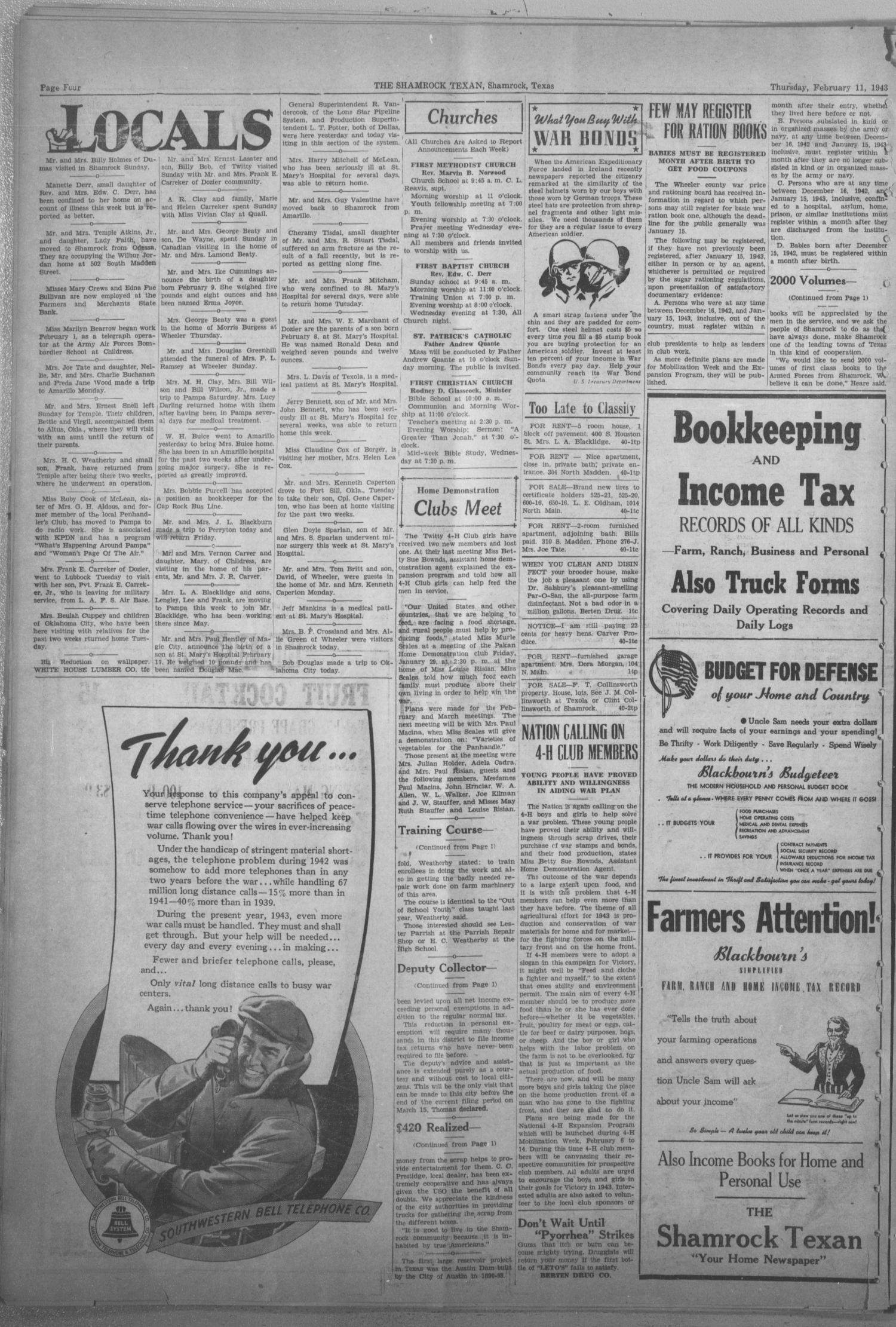 The Shamrock Texan (Shamrock, Tex.), Vol. 39, No. 40, Ed. 1 Thursday, February 11, 1943                                                                                                      [Sequence #]: 4 of 8