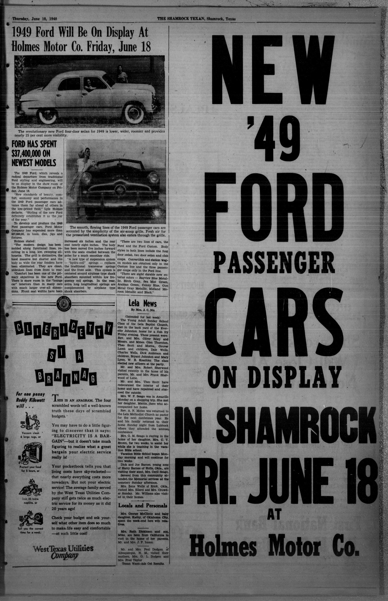 The Shamrock Texan (Shamrock, Tex.), Vol. 45, No. 6, Ed. 1 Thursday, June 10, 1948                                                                                                      [Sequence #]: 3 of 14
