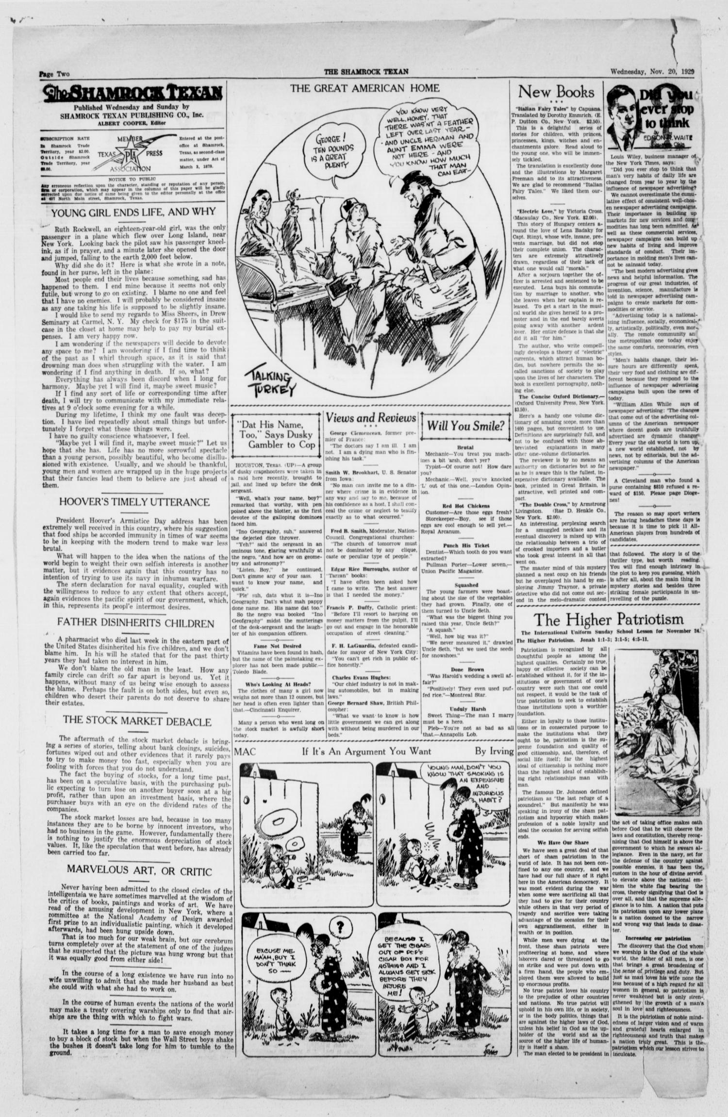 The Shamrock Texan (Shamrock, Tex.), Vol. 26, No. 60, Ed. 1 Wednesday, November 20, 1929                                                                                                      [Sequence #]: 2 of 12