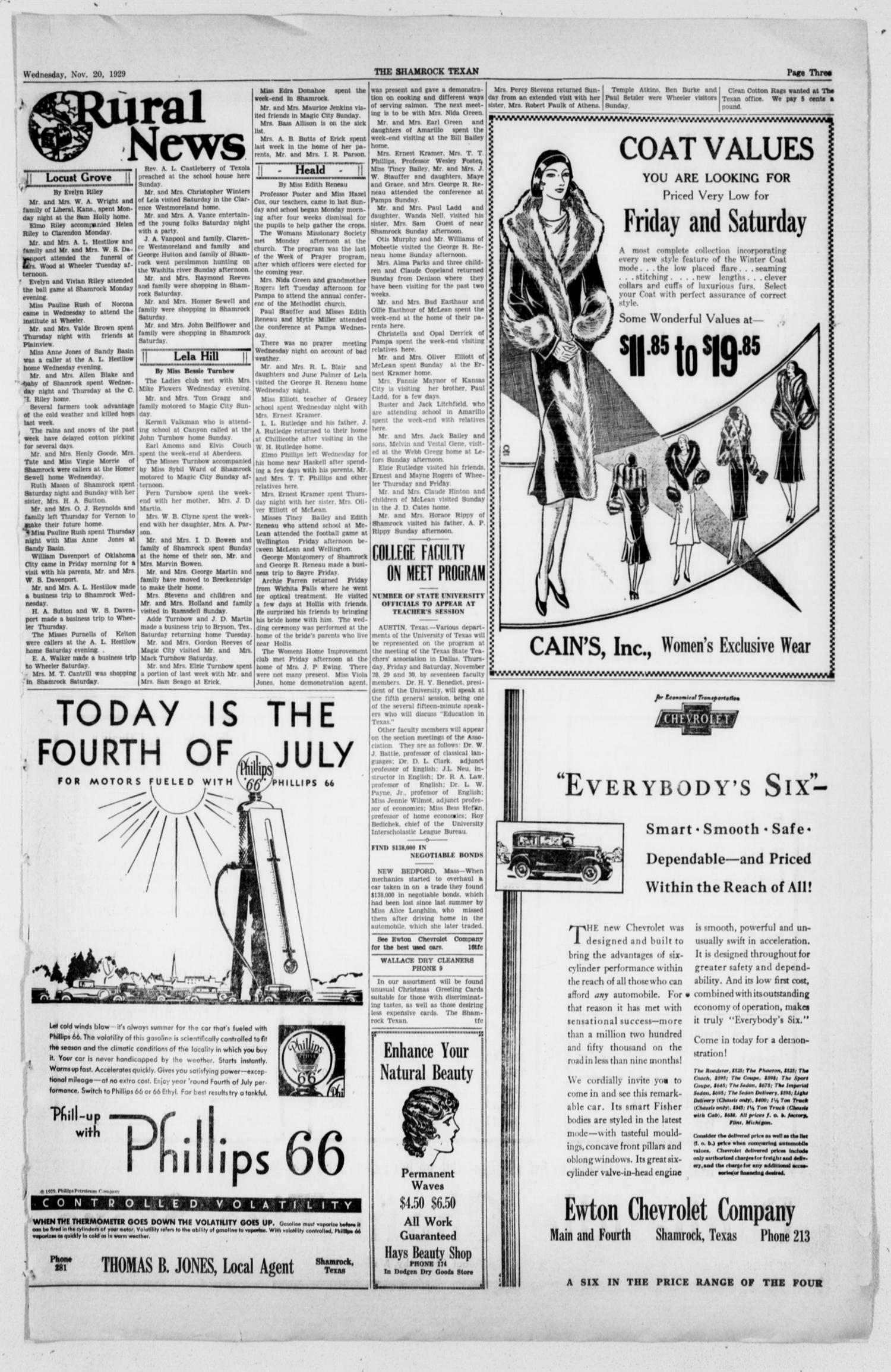 The Shamrock Texan (Shamrock, Tex.), Vol. 26, No. 60, Ed. 1 Wednesday, November 20, 1929                                                                                                      [Sequence #]: 3 of 12