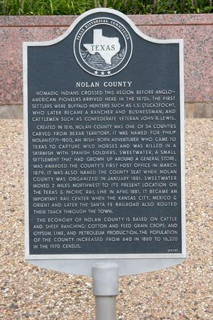 Primary view of object titled 'Historic plaque - Nolan County'.
