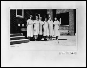 Primary view of object titled 'Six Kitchen Ladies Standing Outside #1'.