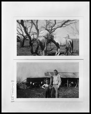 Primary view of object titled 'Man and Girl with Pony; Man and Girl in Front of Barn'.