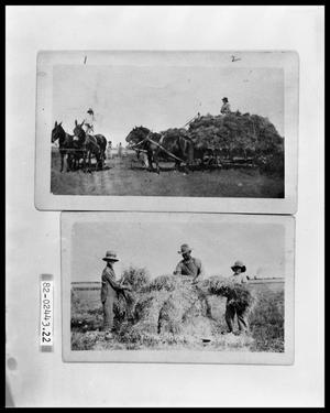 Primary view of object titled 'Men with Wagon Load of Hay; Three People with Hay Stack'.