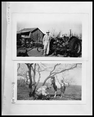 Primary view of object titled 'Man with Tractor and Barn; Man and Girl and Pony'.