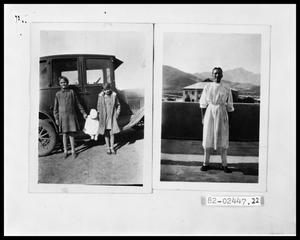 Primary view of object titled 'Two Girls and Infant Beside Car; Young Doctor in Medical School'.