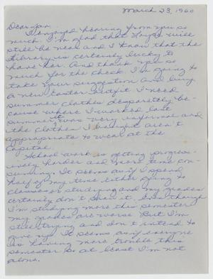 [Letter from Jane Bartley to Medibel Bartley - March 23, 1960]