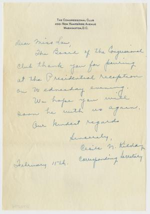 [Letter from Cecily N. Kilday to Lou Rayburn - February 11]
