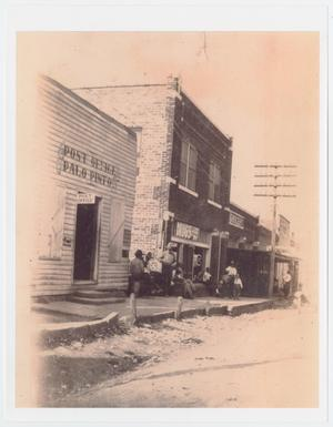 Primary view of object titled '[Photograph of Palo Pinto's Main Street Storefronts and Post Office]'.