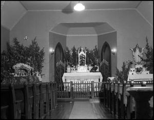 [Photograph of the Interior of St. Mary's Catholic Church at Christmas]