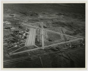 Primary view of object titled '[Aerial View of Runways and Airport Facilities]'.