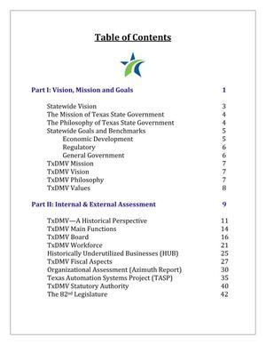 Thumbnail image of item number 4 in: 'Texas Department of Motor Vehicles Strategic Plan