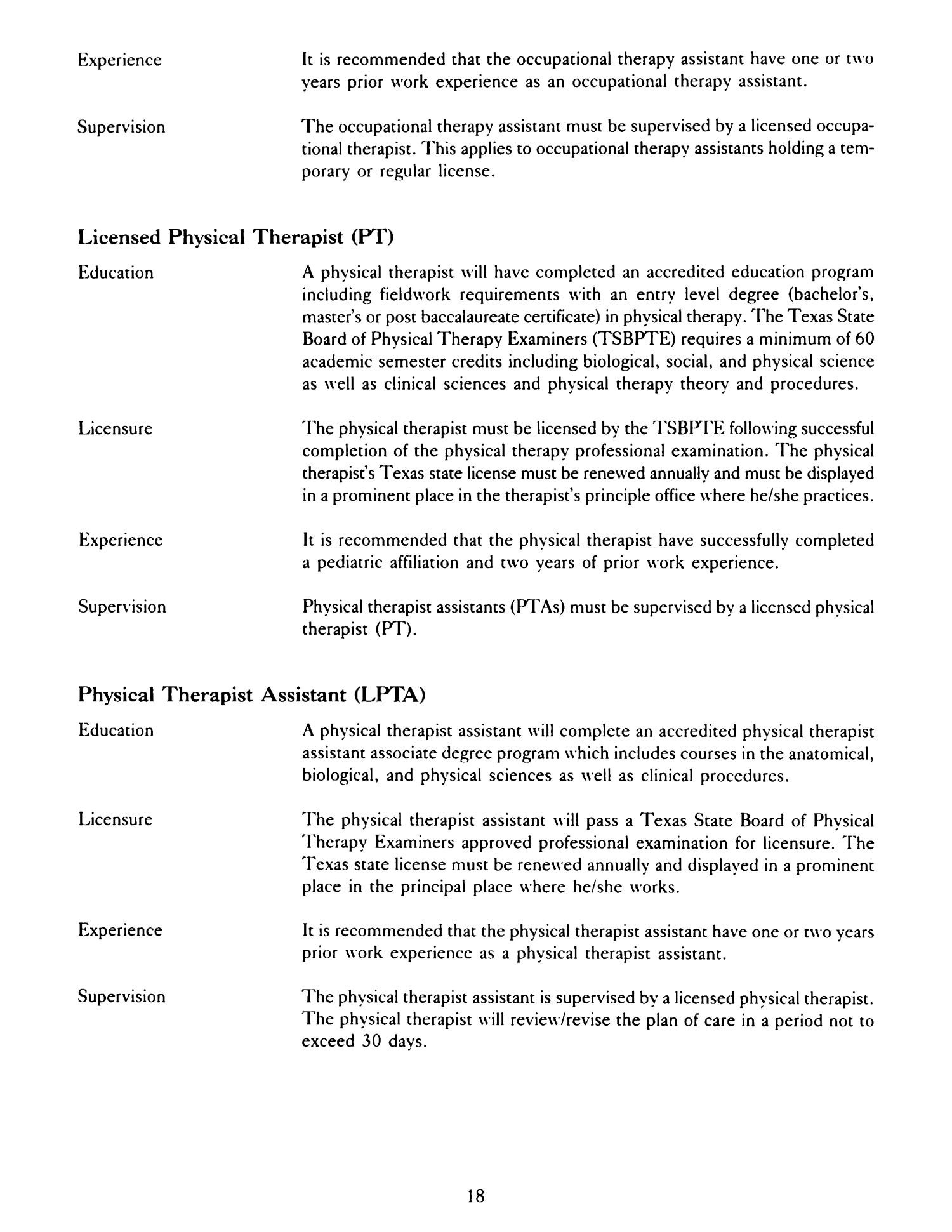 Associate degree in physical therapy - Occupational Therapy And Physical Therapy Guidelines For The Public Shools Page 18 The Portal To Texas History