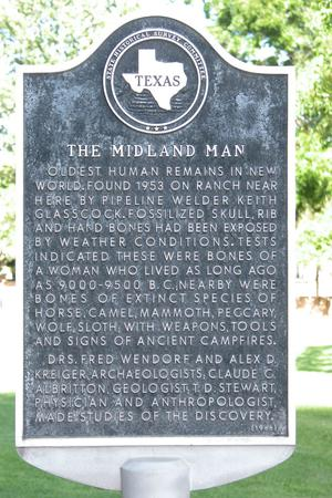 Primary view of object titled 'Historic plaque - Midland Man'.
