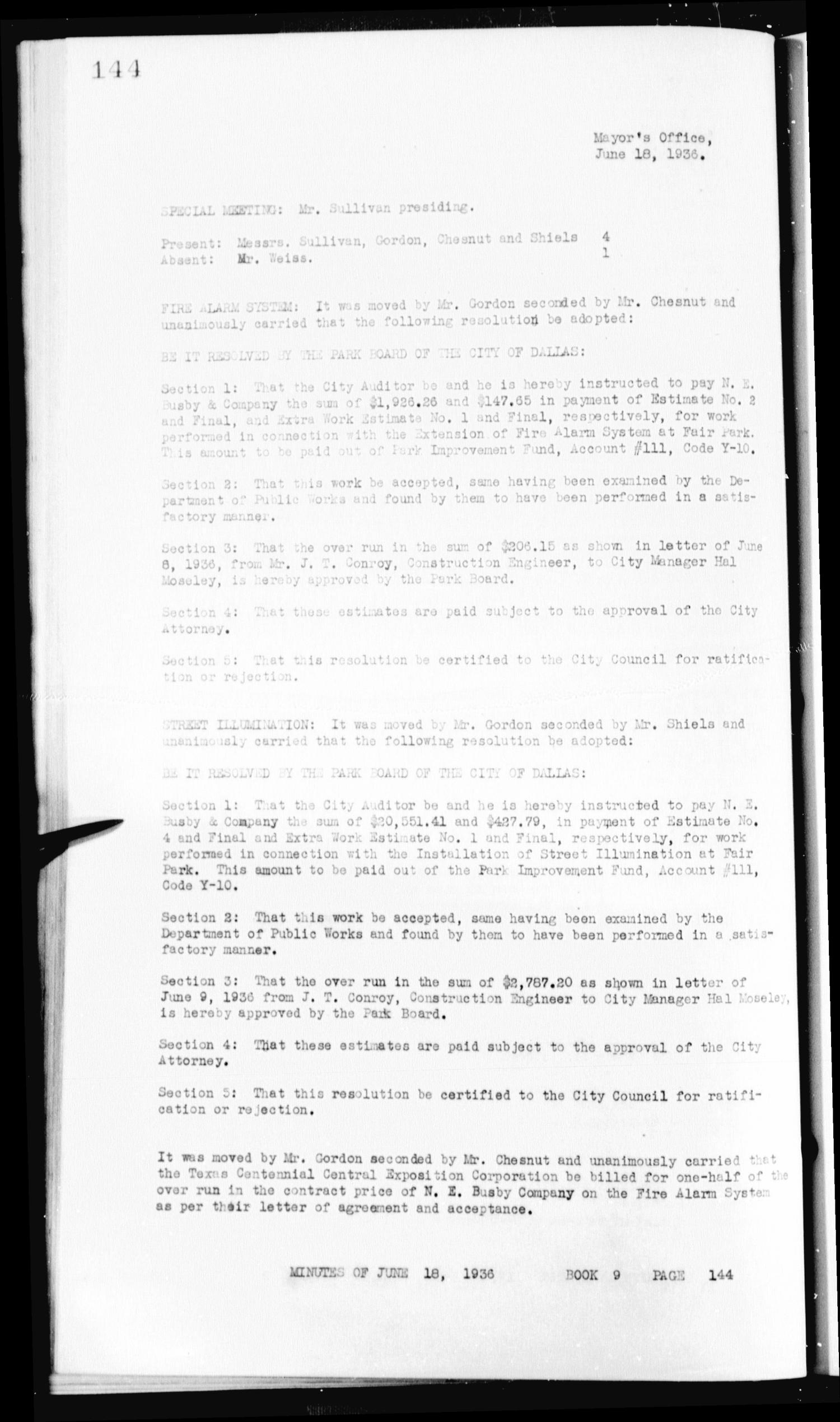 Dallas Park Board Minutes, Book 9] - Page 144 - The Portal