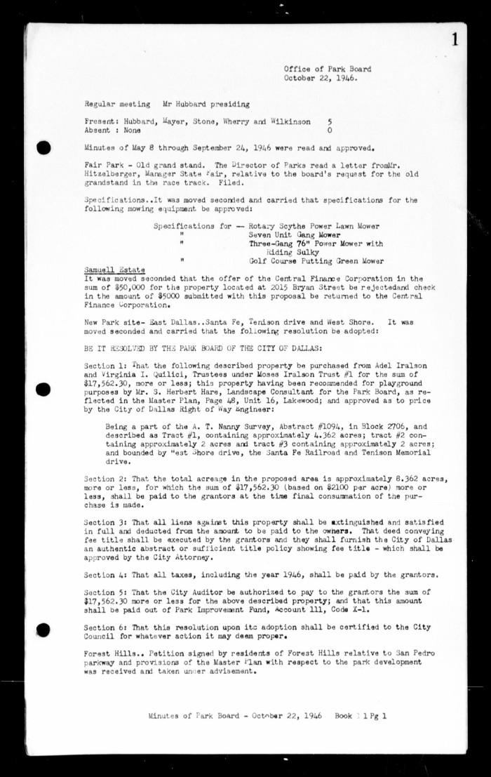 dallas park board minutes book 11 the portal to texas history