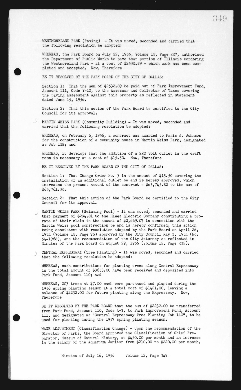 Dallas Park Board Minutes, Book 12] - Page 349 - The Portal