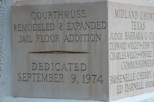 Primary view of object titled 'Midland County Courthouse cornerstone'.