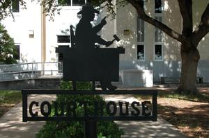 Primary view of object titled 'Ward County Courthouse, silhouette sign'.