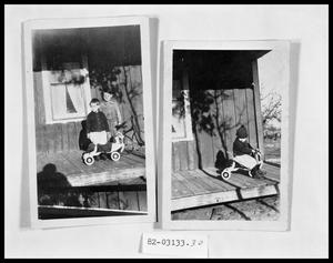 Primary view of object titled 'Children Playing on Porch; Children Playing on Porch'.