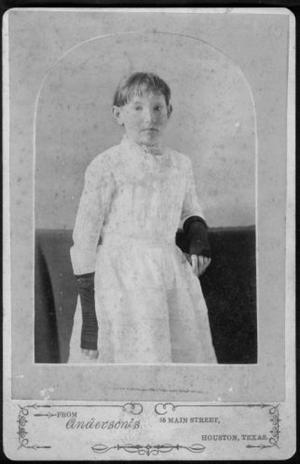 [A young girl in white dress and dark (finger-less) gloves.]