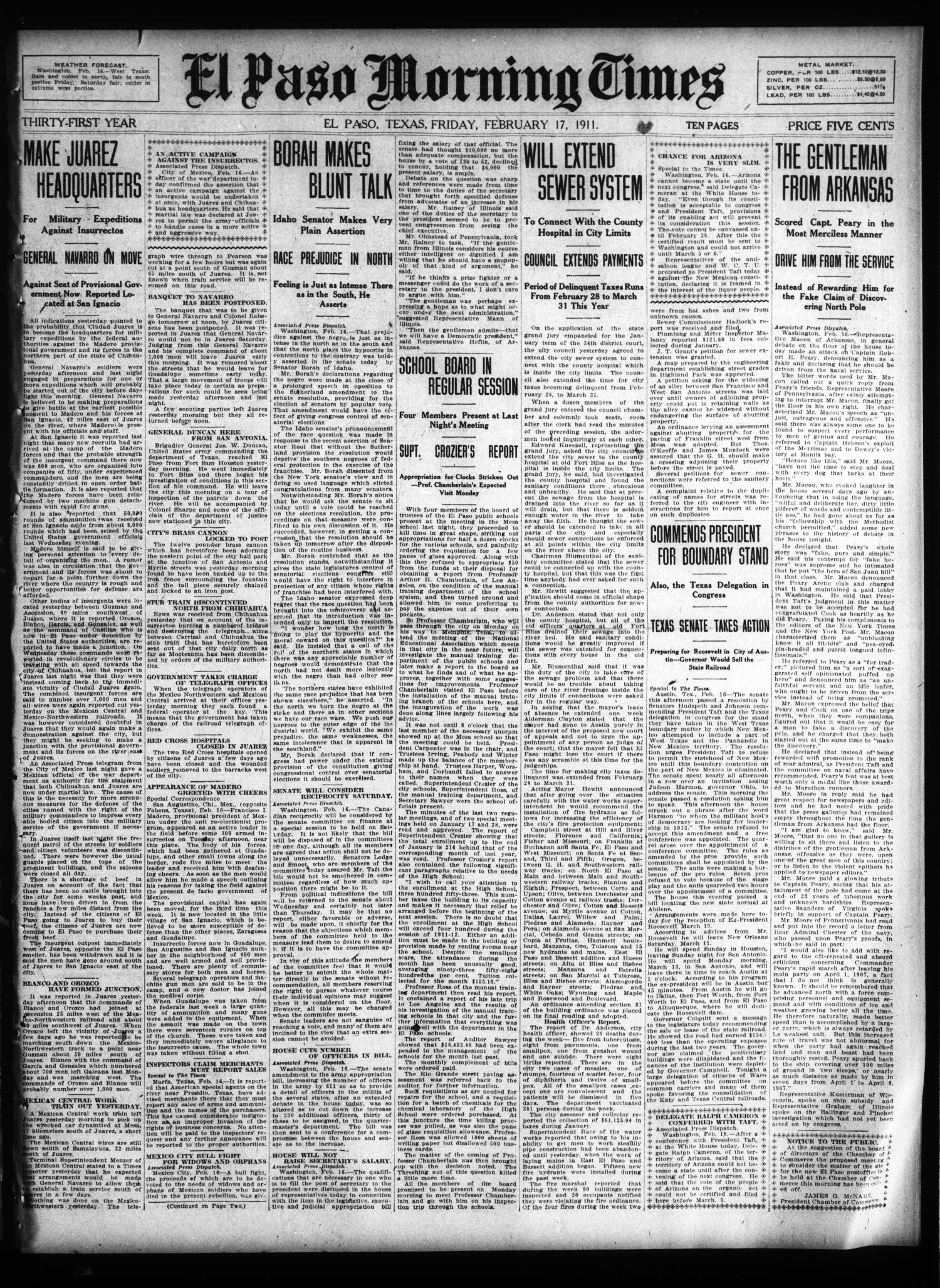 El Paso Morning Times (El Paso, Tex.), Vol. 31, Ed. 1 Friday, February 17, 1911                                                                                                      [Sequence #]: 1 of 10