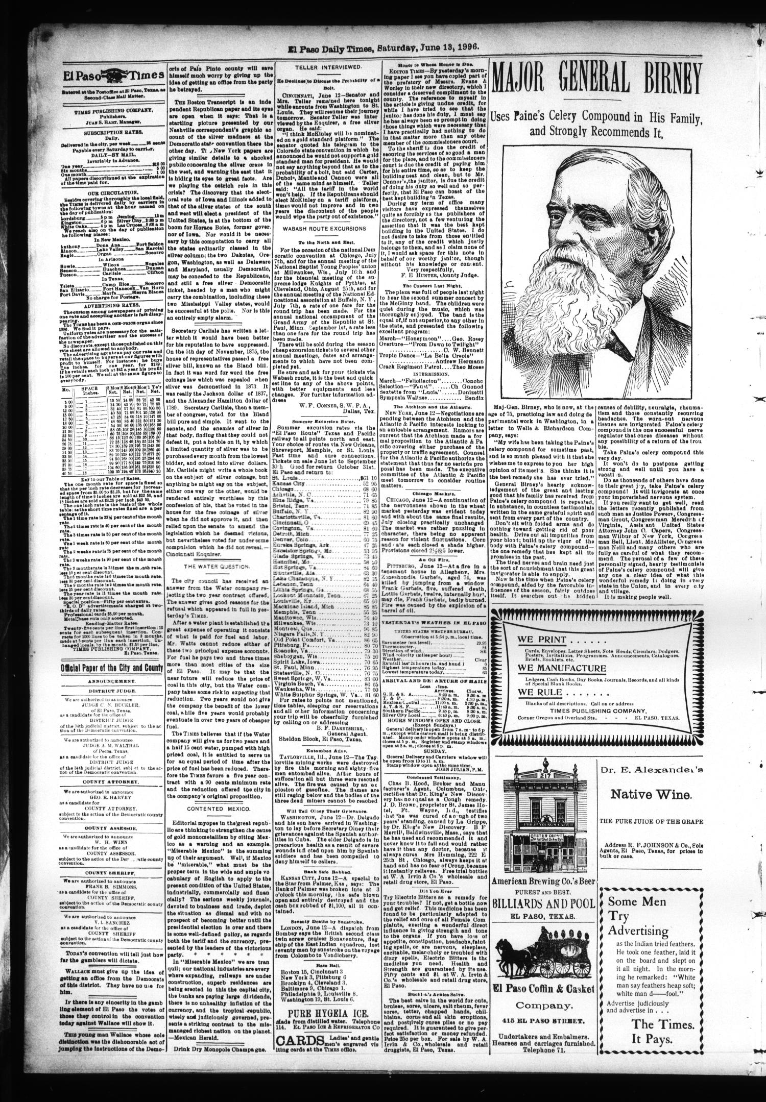 El Paso International Daily Times (El Paso, Tex.), Vol. SIXTEENTH YEAR, No. 144, Ed. 1 Saturday, June 13, 1896                                                                                                      [Sequence #]: 2 of 4