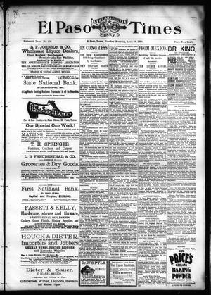 Primary view of object titled 'El Paso International Daily Times (El Paso, Tex.), Vol. SIXTEENTH YEAR, No. 103, Ed. 1 Tuesday, April 28, 1896'.