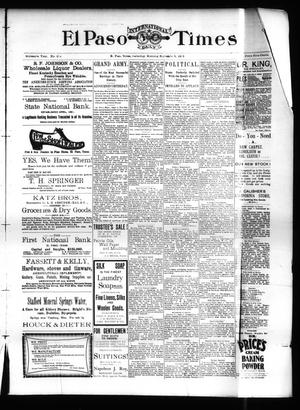 Primary view of object titled 'El Paso International Daily Times (El Paso, Tex.), Vol. SIXTEENTH YEAR, No. 218, Ed. 1 Saturday, September 5, 1896'.