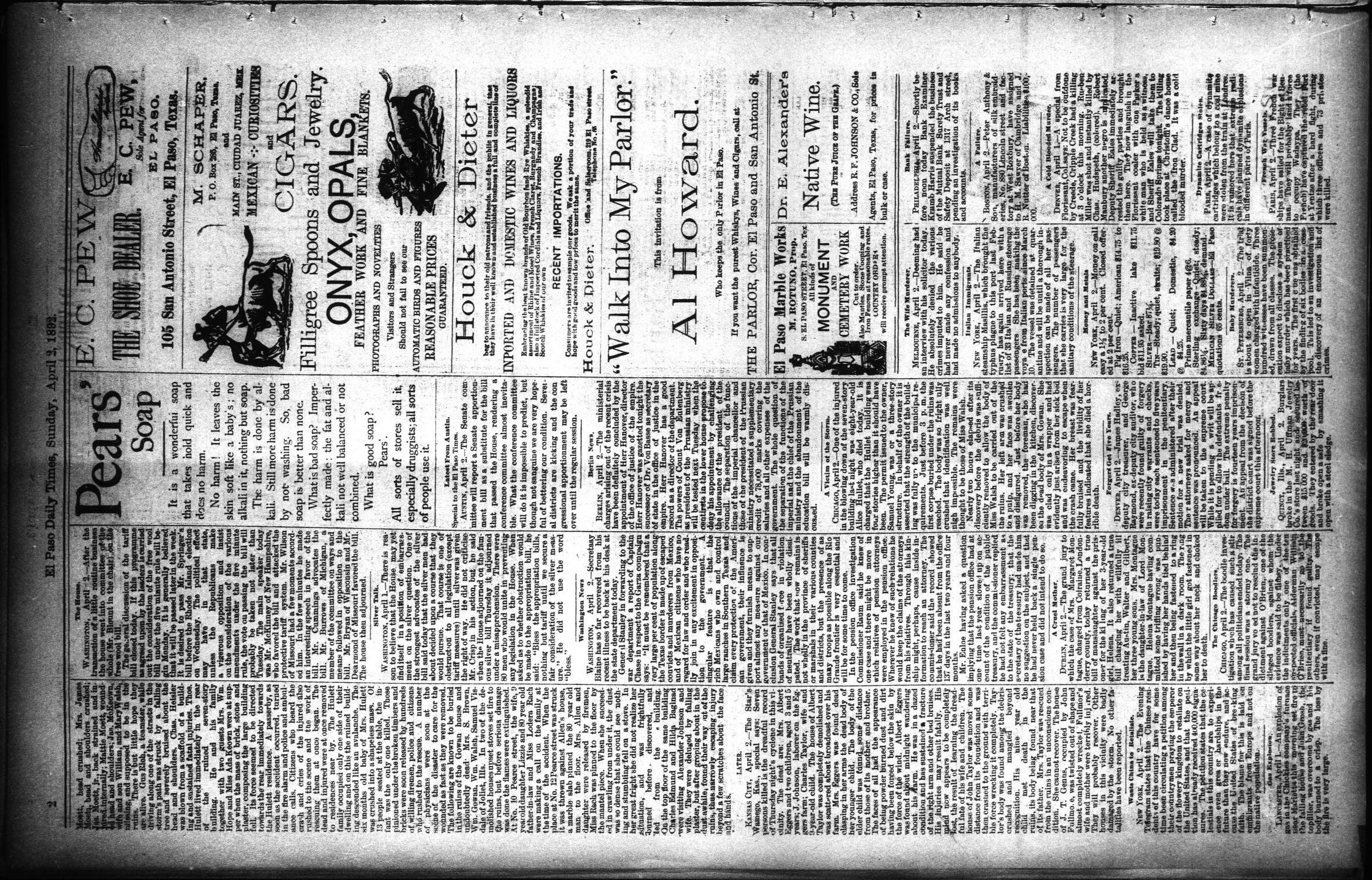 El Paso International Daily Times (El Paso, Tex.), Vol. 12, No. 80, Ed. 1 Sunday, April 3, 1892                                                                                                      [Sequence #]: 2 of 8