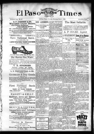Primary view of object titled 'El Paso International Daily Times (El Paso, Tex.), Vol. SIXTEENTH YEAR, No. 58, Ed. 1 Saturday, March 7, 1896'.