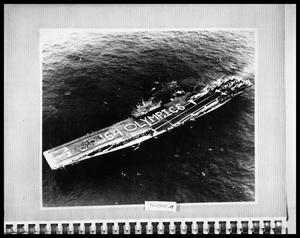 Primary view of object titled 'Aircraft Carrier at Sea'.
