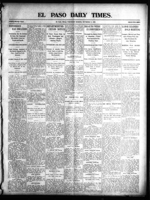 Primary view of object titled 'El Paso Daily Times. (El Paso, Tex.), Vol. 22, Ed. 1 Wednesday, September 17, 1902'.