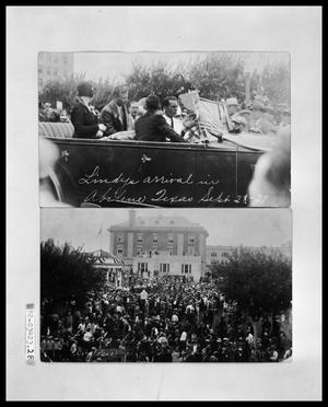 Primary view of object titled 'Men in Car for Parade; Crowd at Courthouse Welcoming Lindbergh'.