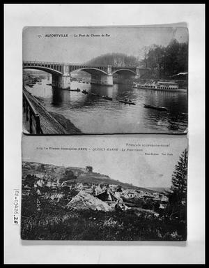Primary view of object titled 'Small Boats Under Bridge; Panorama of Countryside'.