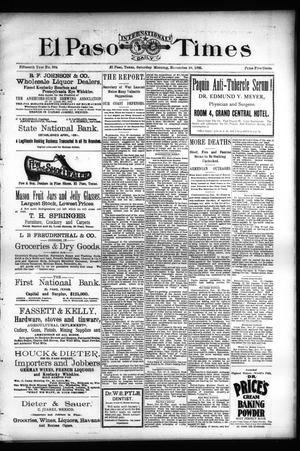 Primary view of El Paso International Daily Times (El Paso, Tex.), Vol. Fifteenth Year, No. 284, Ed. 1 Saturday, November 30, 1895